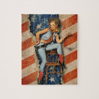American Patriotic Naughty PinUp CowGirl puzzels Jigsaw Puzzle