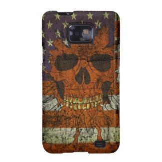 American Patriotic Skull On Gunge Wall Flag Samsung Galaxy S2 Case