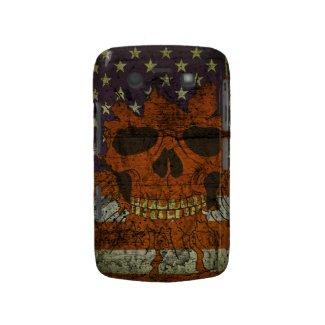 American Patriotic Skull On Gunge Wall Flag Blackberry Cases