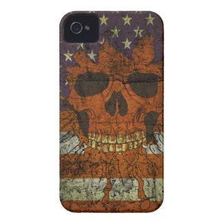 American Patriotic Skull On Gunge Wall Flag Iphone 4 Cover