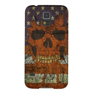 American Patriotic Skull On Gunge Wall Flag Case For Galaxy S5