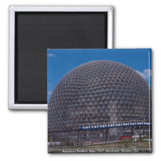 American Pavilion, Expo 1967, Montreal, Quebec, Ca 2 Inch Square Magnet