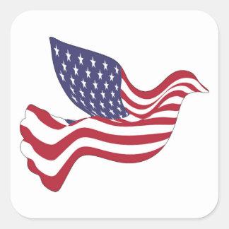 AMERICAN PEACE DOVE SQUARE STICKER