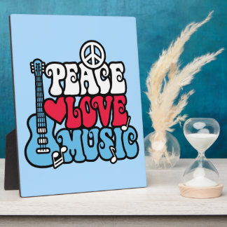 American Peace Love Music Display Plaque