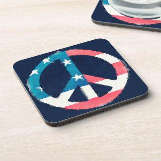 American Peace Sign grunge Beverage Coaster