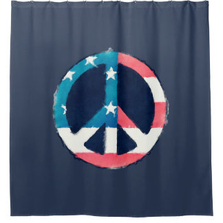 American Peace Sign Grunge + Your Ideas Shower Curtain