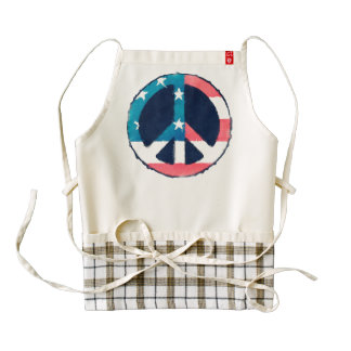 American Peace Sign grunge + your ideas Zazzle HEART Apron