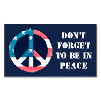 American Peace Sign grunge + your saying Magnetic Business Card