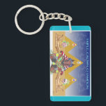 "American Pharoah Triple Crown Champion Keychain<br><div class=""desc"">On one side,  my American Pharoah tribute--complete with the former triple crown winners in the stars and Baffert and Zayat on the sphinxes on the sides. Each pyramid lists the date of one of the races of the triple crown. On back,  &#39;American Pharoah&#39; and &#39;Triple Crown Champion.&#39;</div>"