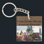 "American Pharoah Triple Crown Winner Keychain<br><div class=""desc"">The Triple Crown winner American Pharoah clenches the victory at Pimlico in the Preakness Stakes claiming the first leg of the Triple Crown honor that had not been won in 37 years. Show your pride to everyone with this unique, historical keychain. A great gift idea! Order today for fast service...</div>"
