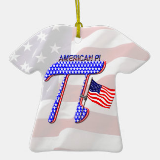 AMERICAN Pi Double-Sided T-Shirt Ceramic Christmas Ornament