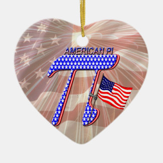 AMERICAN Pi Double-Sided Heart Ceramic Christmas Ornament