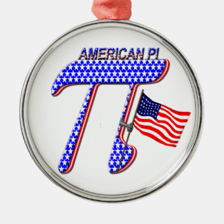 AMERICAN Pi Round Metal Christmas Ornament