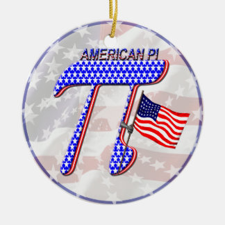 AMERICAN Pi Double-Sided Ceramic Round Christmas Ornament