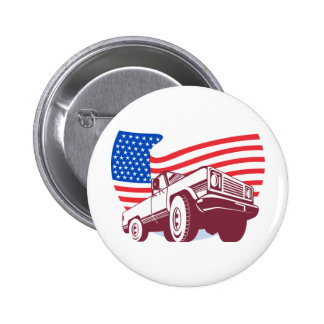 American Pickup truck with flag stars and stripes Button