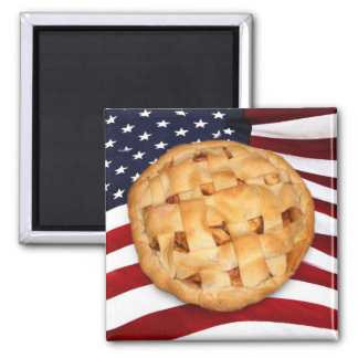 American Pie (Apple Pie with American Flag) 2 Inch Square Magnet