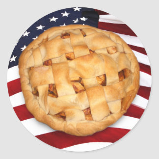 American Pie (Apple Pie with American Flag) Classic Round Sticker