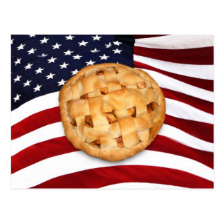 American Pie (Apple Pie with American Flag) Postcard