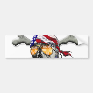 American Pirate Scull and Bones Bumper Sticker