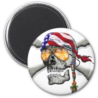 American Pirate Scull and Bones Fridge Magnet