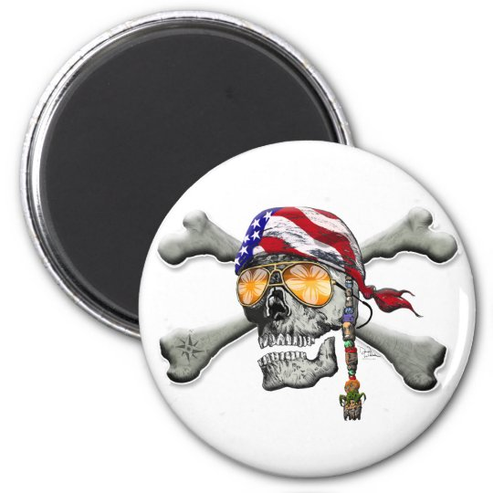 American Pirate Scull and Bones Magnet