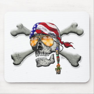 American Pirate Scull and Bones Mouse Pad