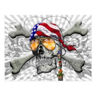 American Pirate Scull and Bones Postcard