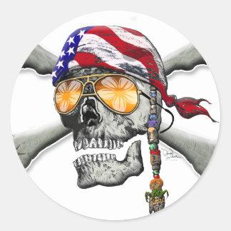 American Pirate Scull and Bones Round Sticker