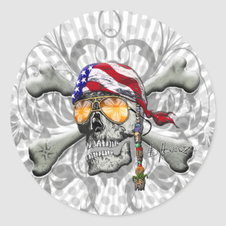 American Pirate Scull and Bones Round Stickers