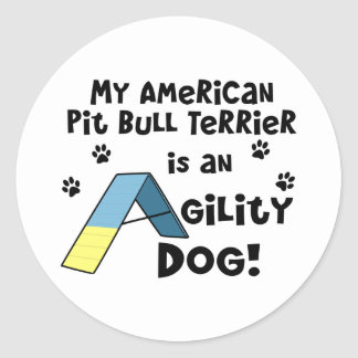 American Pit Bull Terrier Agility Dog Round Sticker