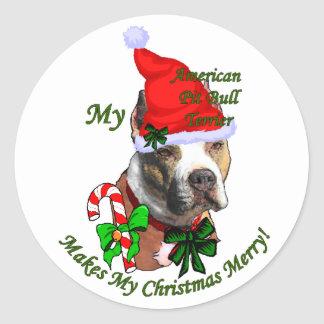 American Pit Bull Terrier Christmas Classic Round Sticker