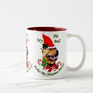American Pit Bull Terrier Christmas Gifts Two-Tone Coffee Mug