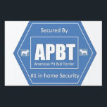 "American Pit Bull Terrier Home Security Sign<br><div class=""desc"">Anyone who has an American Pit Bull Terrier knows that they have the best home secuity system that money can buy. They also a mutitasking security system that greets you when you come home, on gaurd when you gone and, loves you conditionally. Not to mention there is no annoying beeping...</div>"