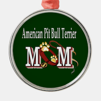 american pit bull terrier mom round metal christmas ornament