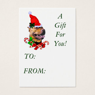 American Pit Bull Terrier Pitbull Christmas Gif... Business Card
