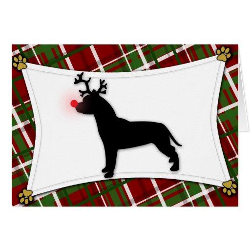 American Pit Bull Terrier Reindeer Christmas Card