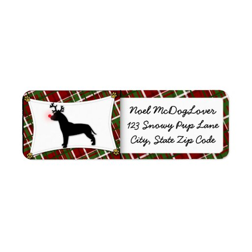 American Pit Bull Terrier Reindeer Christmas Return Address Labels