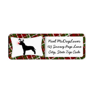 American Pit Bull Terrier Reindeer Christmas Return Address Label