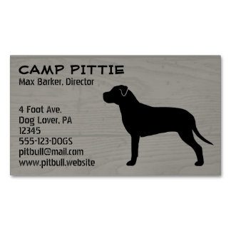 American Pit Bull Terrier Silhouette Magnetic Business Card