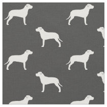 American Pit Bull Terrier Silhouettes Pattern Fabric
