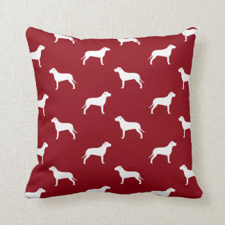 American Pit Bull Terrier Silhouettes Pattern Throw Pillow