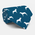American Pit Bull Terrier Silhouettes Pattern Tie