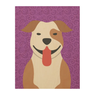 American Pit Bull Terrier Wood Canvas Wood Wall Art