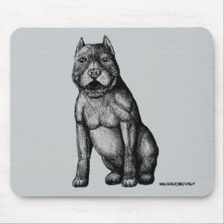 American pitbull ink pen drawing mouse pad