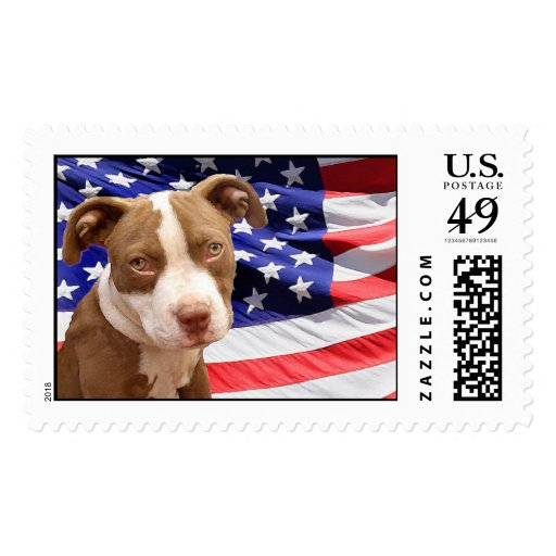 American Pitbull puppy Stamp