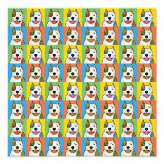 American Pitbull Terrier Dog Cartoon Pop-Art Photo Print