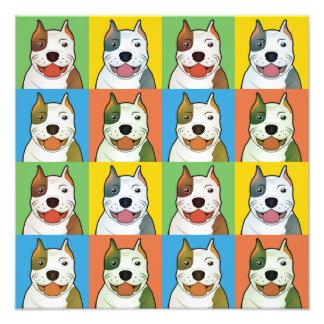 American Pitbull Terrier Dog Cartoon Pop-Art Photographic Print