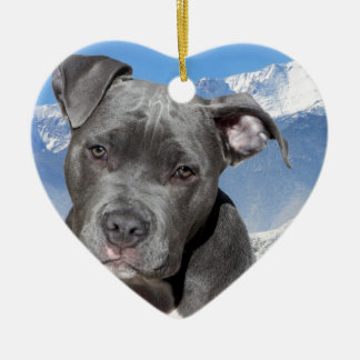 American Pitbull Terrier Puppy Dog Ceramic Ornament