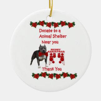 American Pitt bull Christmas Ceramic Ornament