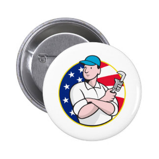 American Plumber Worker With Adjustable Wrench Pinback Buttons